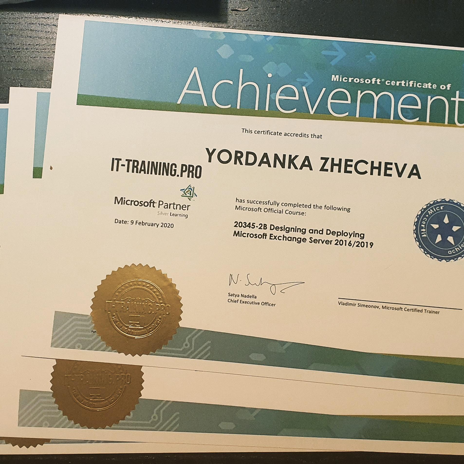 Курс 20345-2 Designing and Deploying Exchange Server 2016/2019 Сертификати за завършване