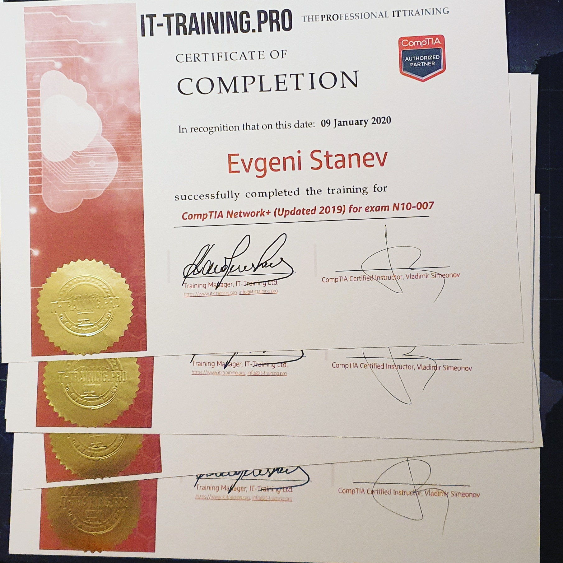 CompTIA Network+ N10-007 Feb-2020 Certificates of Completion